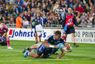 Blues Lolagi Visinia scores during Blues Investec Super Rugby game against the Waratahs at Eden Park on Friday night in front of a great home crowd. Photo / Greg Bowker.