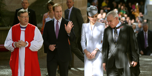 Britain's Prince William, and his wife, Kate, the Duchess of Cambridge, arrive at St. Andrew's Cathedral for Easter Sunday church services in Sydney. Photo / AP