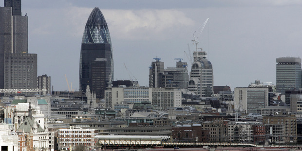 A view from Nelson's Column shows the Gherkin building over central London's skyline. File photo / AP