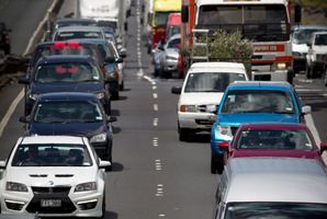 Traffic on Auckland's northwestern motorway.