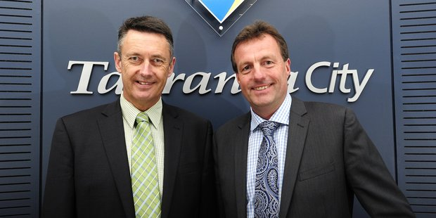Mayor Stuart Crosby, left, and deputy mayor Kelvin Clout will have to go without after the decision to appoint an executive officer was quashed by the council.