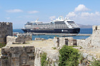 The Azamara Journey, docked at the Greek island of Rhodes. Photo / Rod Emmerson