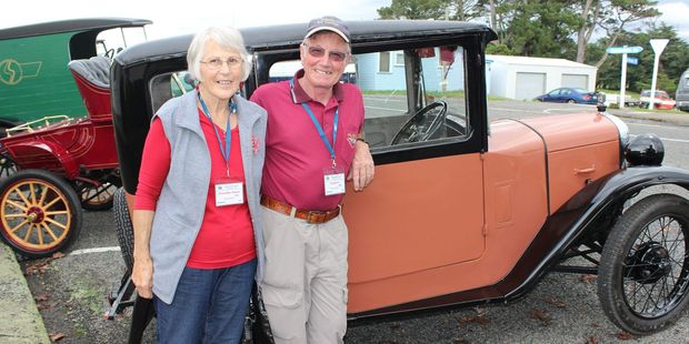 Claudia-Ann and Stephen Boss of Whanganui with their 1930 Austin 7.