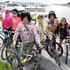HBT141537-07 Hippies L-R: Chris Treagus, Lauraine Hill, Ken Ainsworth, Debbie Ainsworth, Chris Sanson, Rae Sanson, on West Quay -The Big Easy, cycle event from Havelock North. Photograph: Duncan Brown