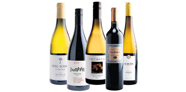 Dog Point Vineyard Section 94 Marlborough; Bell Hill Canterbury Pinot Noir; Greywacke Marlborough Chardonnay; Sacred Hill Helmsman Hawkes Bay; Auburn Bendigo Central Otago Riesling.