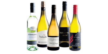 Stoneleigh Marlborough Sauvignon Blanc; Yealand's Estate Single Block L5 Awatere Valley; Ata Rangi Craighall Martinborough Chardonnay; Man O' War Valhalla Chardonnay; Vidal Reserve Series Hawkes Bay.