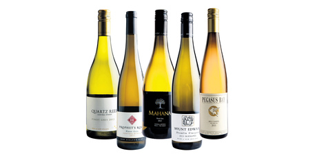 Quartz Reef Central Otago Pinot Gris; Prophet's Rock Central Otago Pinot Gris; Woollaston Mahana Nelson Pinot Gris; Mount Edward Drumlin Central Otago Riesling; Pegasus Bay Bel Canto Waipara Valley.