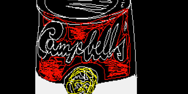 """Campbell's,"" a piece that is thought to be made by the late pop artist, Andy Warhol, on a computer in 1985. Photo / AP"