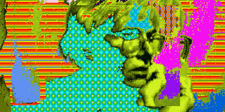 A piece that is thought to be made by the late pop artist, Andy Warhol, on a computer in 1985. Photo / AP