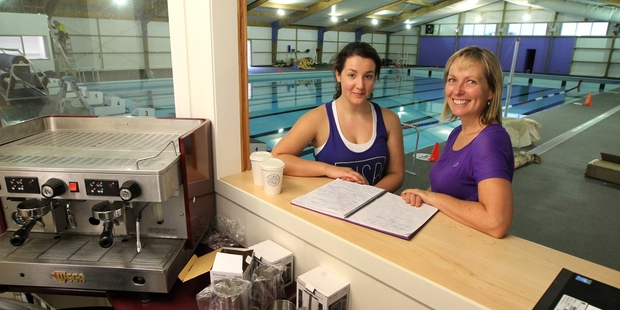 Lifeguard and instructor Meghann Corbett (left) with Alice Heather, group manager community facilities and programmes, Hastings District Council, at Clive War Memorial Pool. Photo/Duncan Brown