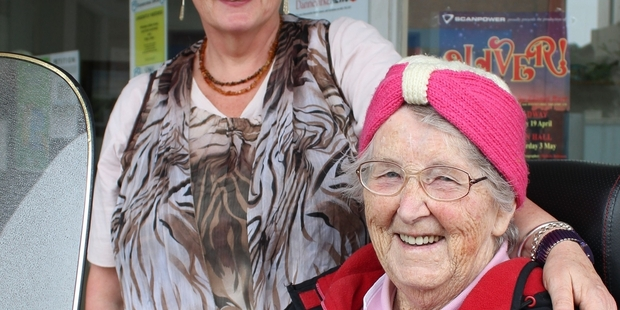 Rose Hulena has been a Hawke's Bay newspaper subscriber for 57 years. She joins Dannevirke News administrator Andrea Longstaff (left). Photo/Christine McKay