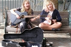 Chloe McCartan and Bethany Keene during last year's Great Busk Off.  Photo/Supplied