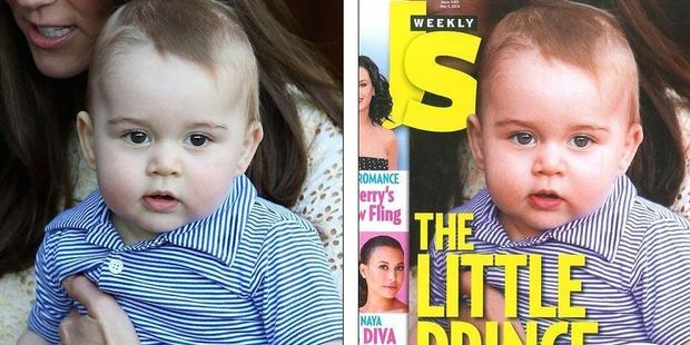 Prince George appears airbrushed on the cover of US Weekly. Photo / Twitter / @Femail