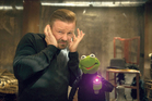 Ricky Gervais and Constantine, a Kermit the frog look-alike, have a big musical number in Muppets Most Wanted.