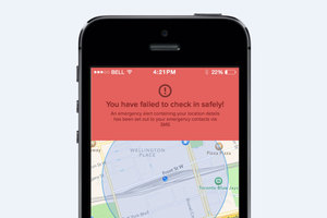 The app sends an alert if the user fails to check in. Photo / supplied
