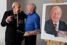 Les Munro (left) with portrait painter Richard Stone. Photo / Alan Gibson