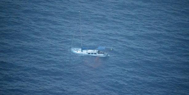 The stricken yacht. Photo / RNZAF