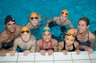 Tauranga swimmers at the Jetstar Super Swim camp pictured with Moss Burmester and Melissa Ingram. Back row, from left, Daniel Shanahan, Mason Bell. Front row, from left, Liam Shanahan, Kaylah Smith, Talitha McEwan.