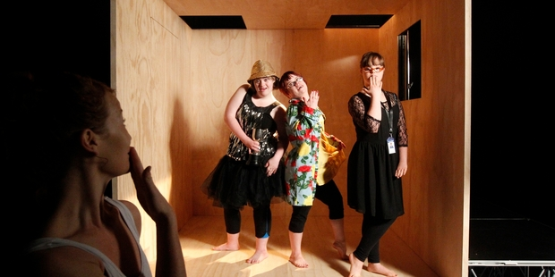 Choreographer Georgie Goater, left, watches Annalise Cruickshank, Lucy Spiers and Sophie Wills. Photo / Chris Gorman