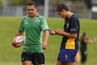Amon Rimene (right) has made the step up to refereeing premier rugby this season. Photo/George Novak