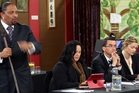 Te Runanga o Ngati Ruanui Trust chairman Haimona Maruera jnr spells out the iwi's opposition. To his left are its other speakers, Debbie Ngarewa-Packer, Graham Young and Shi-han Ngarewa. Photo/Stuart Munro