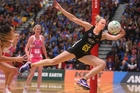 Waikato Bay of Plenty Magic player Jo Harten chases the ball in last night's match against the Thunderbirds.Photo/Ben Fraser
