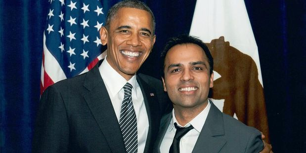 Gurbaksh Chahal (right) with US President Barack Obama at a dinner in San Francisco. Photo / Wikimedia-Radiumone