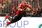 Nemani Nadolo of the Crusaders dives over to score a try during the round 12 Super Rugby match between the Crusaders and the Brumbies. Photo / Getty Images.