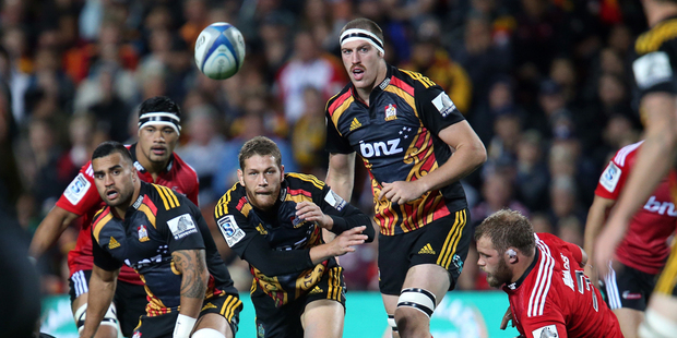 Tawera Kerr-Barlow of the Chiefs in action during the Chiefs and Crusaders Super Rugby match at Waikato Stadium. Photo / Getty Images.