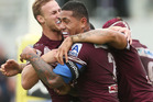 Jorge Taufua of the Sea Eagles celebrates with team mate Daly Cherry-Evans after scoring a try during the round 8 NRL match between the Sea Eagles and the Raiders. Photo / Getty Images.