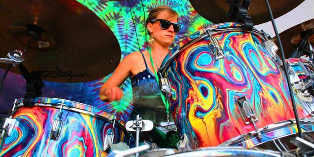 Savannah Hughes, of Rainbow Girls, performs at the 'charming and communal' Apple Jam festival.
