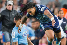 The work done by midfielders Ma'a Nonu, above, and Francis Saili helped the Blues win the game against the Waratahs. Photo / Greg Bowker