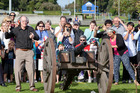 Western Bay of Plenty Mayor Ross Paterson fires one of the guns.