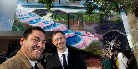 Artists Jacob Chrisohoou (left) and Jonny4higher have finished their mural in Rotorua's city centre. Photo/Stephen Parker.