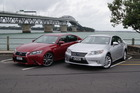 The lighter Lexus ES300h (silver) and sporty GS300h (red) share the same basic powertrain. Photos / David Linklater