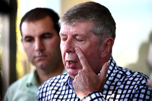 Former National Party Minister Maurice Williamson speaks to media outside his electorate office in Pakuranga. Photo / Getty Images