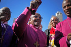 'How can you describe falling in love?' Is how retired archbishop Desmond Tutu this week recalled the joy of voting in South Africa's first all-race elections on April 27, 1994. Photo / AP