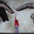 The Creation of Adam by Michelangelo was recreated by local artist Owen Dibey on the side of the Elizebeth St parking building. Eilidh Duncan 3yrs reaches up to touch the finger of God.