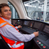 Auckland train driver William Els with one of the new electric commuter trains at the Wiri Depot. Photo / NZ Herald / Richard Robinson