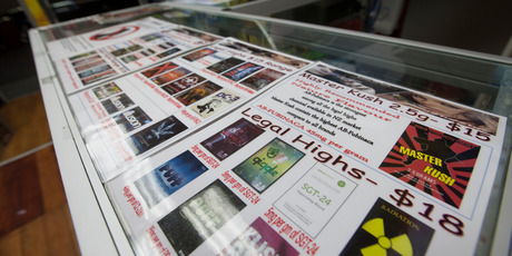 Legal High products advertised for sale at Shasha on K road, in Auckland. Photo / Chris Loufte