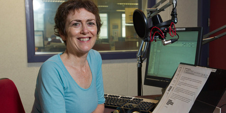 Radio New Zealand Checkpoint presenter Mary Wilson in their Wellington studio. Photo / Mark Mitchell