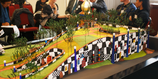 The unveiling of a model of the Hundertwasser building planned for the Whangarei Town Basin on the site of the old NRC headquarters. PHOTO/MICHAEL CUNNINGHAM