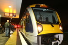 All aboard for a slightly delayed journey on one of Auckland's new electric trains. Photo / Greg Bowker