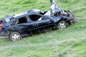 The crashed vehicle.
