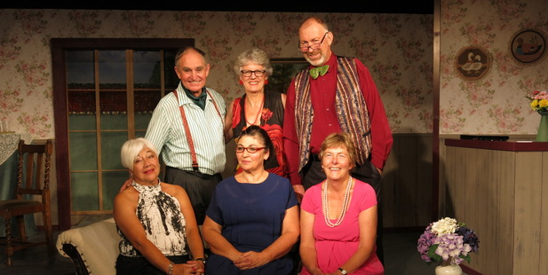 THE CAST: Only six actors complete the line-up for Sex Please We're Sixty. Front, from left, Sandra Cowan, Colleen Pye, Sally Langley; back from left, Michael Jones, Dianne Leach and Callum Mckenzie