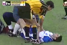A player recovers from a horror tackle during an English Conference match. Photo / You Tube.