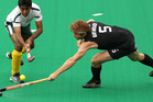 Andy Hayward scored a hat-trick in the Black Sticks' shoot-out defeat. Photo / Getty Images