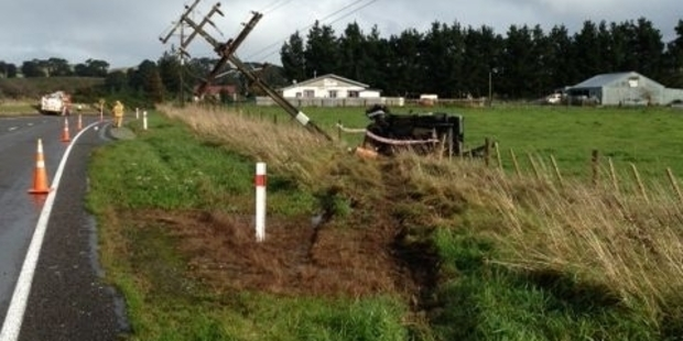 TOPPLED LINE: A Carterton man, 80, and his female passenger crashed into a power pole north of Eketahuna yesterday.