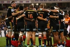 The Chiefs regroup after another Brumbies try at Canberra Stadium on Friday. Photo / Getty Images