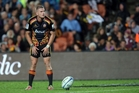 Gareth Anscombe has a better goal kicking percentage than Aaron Cruden but lags in most other areas. Photo / Getty Images